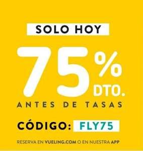 ¡Solo hoy! 75% d descuento en vuelos Vueling (tasas excl.) para volar del 13/10/21 al 31/3/22 (excl. del 17/12/21 al 9/1/22)