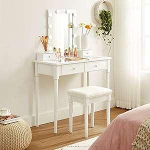Mesa Tocador, Maquillaje, espejo con 10 Bombillas Regulables, taburete tapizado, 4 cajones con vidrio templado