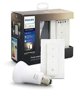 Philips Hue Bombilla LED E27 con Mando Inalámbrico, Luz Blanca de Cálida a Fría