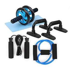 Rueda Abdominales Fitness Kit 5 en 1 con Push Up Bars de Empuje. Por 12,99€
