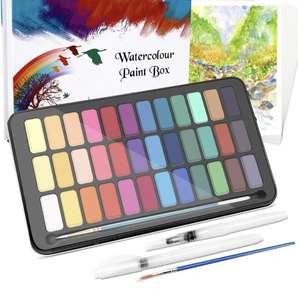 Set de Pintura de Acuarelas-50 Pzas Caja de Acuarelas 36 Colores,2 Cepillos