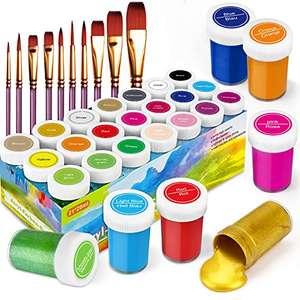 RATEL Pinturas Acrílicas 21 x 20 ml de Pigmento Acrílico +10 Pinceles
