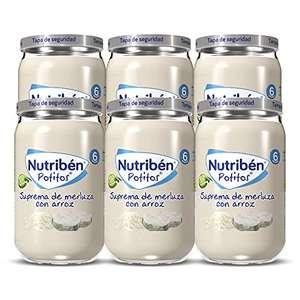 Pack de 6 Potitos Nutribén Suprema De Merluza con Arroz, Desde los 6 Meses, Pack 6 x 235 gr [Recurrente]