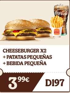 CHEESEBURGER X2 + PATATAS PEQUEÑAS + BEBIDA PEQUEÑA Burguer King BK