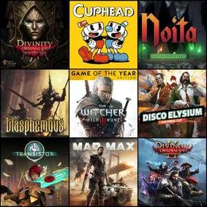 Blasphemous 1€, The Witcher 3: Wild Hunt GOTY 3€, Cuphead 3€, Disco Elysium 4€, Noita 2€, Divinity: Original Sin 2€   PC, Drm-free