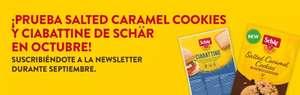Hasta mañana 30 de septiembre ,compra 1 producto Schar y llevate gratis Ciabattine y las nuevas Salted Caramel Cookies en octubre.