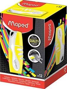 Caja de 12 marcadores Fluo'Peps Pocket, color amarillo, tamaño mini