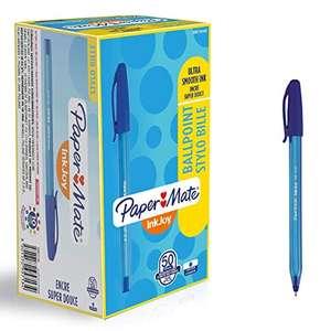 Paper Mate S0957130 - Bolígrafo con capuchón, punta media de 1 mm, caja de 50, color azul