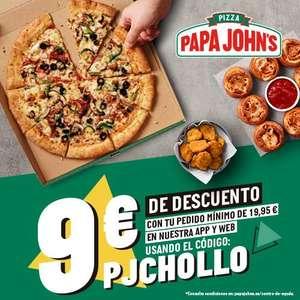 9€ de descuento en pedidos +19.95€ en Papa John's