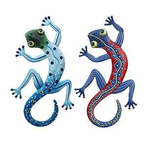 Pack de 2 lagartos de metal resistente, vivos colores, decoración para exteriores