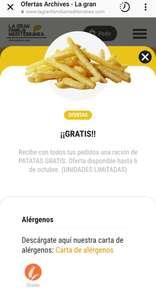 Ración de patatas gratis con todos tus pedidos en La gran familia mediterránea