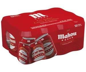 Cervezas MAHOU 5 ESTRELLAS pack de 12 latas de 33 cl.
