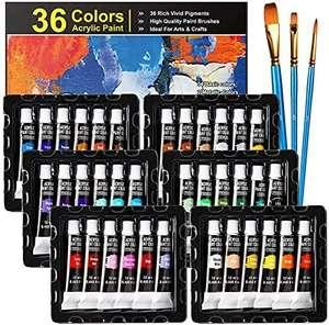 Pintura Acrílica 36 Tubos + 3 Pinceles solo 11,99€
