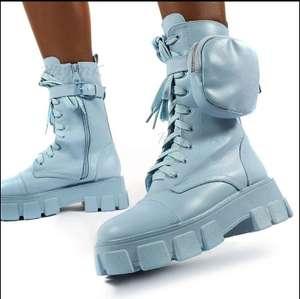 Botas gruesas con plataforma y bolsillo azul n°35