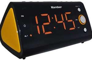 Radiodespertador, reloj con gran pantalla e indicador de temperatura.