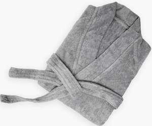 Albornoz Simply Fresh 100% algodón con Cuello Chal. Blanco o Gris. [Tallas S-M y L-XL]
