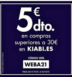 5€ de descuento para pedidos de 30€ en Kiabi y rebajas del 50%