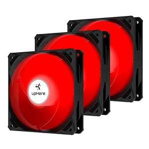 3 Ventiladores de 120 mm 3 pines LED rojo