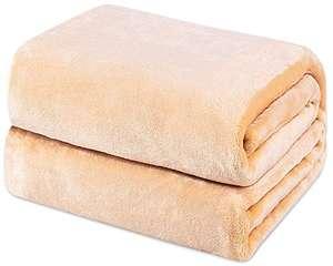 Mantas de Franela 150x200cm Súper Suaves Esponjosas para El Sofá Cama Colcha de Microfibra,tamaño Doble/Matrimonio, Caqui