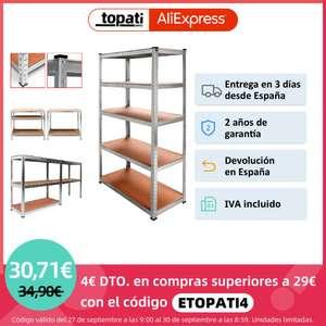 Estanteria Metalica Galvanizada de 5 Baldas 180 x 90 x 40cm (Desde España) (A partir del 9/10 a las 10.00)