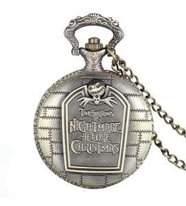"Reloj de Bolsillo Retro Bronce ""Pesadilla Antes de Navidad"" Grabado Cuarzo Reloj con Collar Largo 80cm"