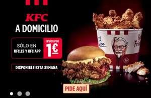 Envio a domicilio a 1 euro pidiendo desde la web de KFC o la App