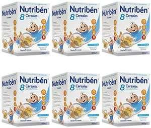 Nutribén Papilla 8 Cereales, Sin aceite de Palma ni azucares añadidos.Pack de 6 unidades x 600g(Con compra recurrente)
