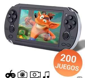 Consola de videojuegos retro portátil estilo psp con 200 juegos playstation arcade clásicos conexión a TV cámara 8GB (Plaza) (Envío España)