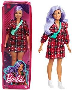 Barbie Fashionista Muñeca con pelo violeta, vestido de cuadros rojo y accesorios de moda