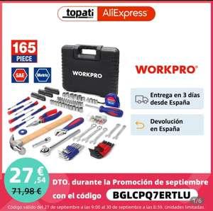 Maletín herramientas, 165 piezas Workpro