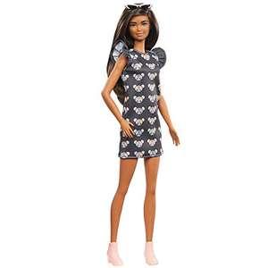 Barbie Fashionista Muñeca morena con vestido estampado de ratones y accesorios de moda de juguete (Mattel GYB01)