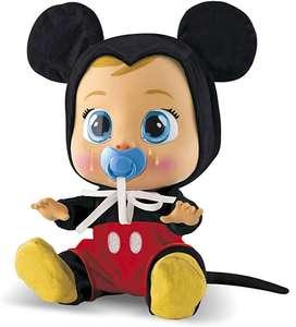 Bebés Llorones Mickey o Minnie Mouse - Muñeco interactivo que llora de verdad con chupete y pijama de Mickey