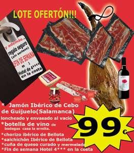 Jamón ibérico de cebo de Guijuelo mas productos varios mas fin de semana en hotel de 4* en la costa