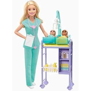 Barbie Quiero Ser pediatra muñeca rubia con dos bebes y accesorios