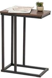 Mesa auxiliar de madera MDF y metal. Marrón y negro [45 x 25,4 x 63,7 cm]
