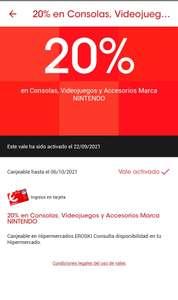 20% en NINTENDO en Eroski App
