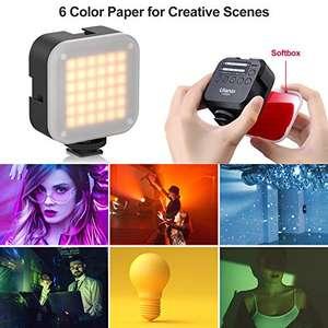 Luz de Video LED para Cámara con Softbox, con sujeción magnética y 6 filtros de color