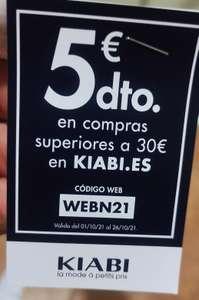 Descuento promocional de 5€ por compras superiores a 30€