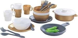 Kit de utensilios para cocina de juguete de 27 unidades (juego completo de platos y utensilios), Color Metálico