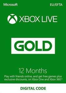 Suscripción Xbox Live Gold 12 meses Xbox Live (38,15€ billetera Eneba o 40,99€ Paypal)