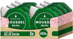 Moussel Gel de Ducha Purificante con Aloe Vera 600ml o el clásico 600ml - Pack de 8 Con 15% de compra recurrente
