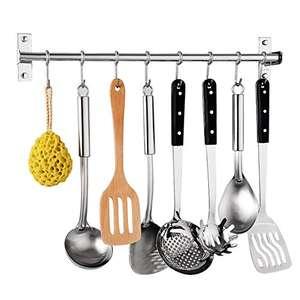 Soporte colgador de utensilios de cocina de acero inoxidable con 6 ganchos y tornillos de montaje