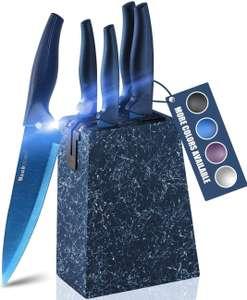 Wanbasion Azul Set Cuchillos Cocina Acero Inoxidable 6 piezas con bloque