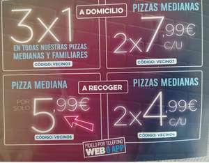 [Solo Getafe] 2 medianas a recoger por 4,99€ c/u y más cupones de Domino's Pizza