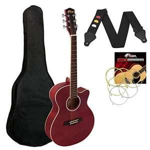 Tiger ACG1-RD Guitarra acústica de cuerpo pequeño con cuerdas de acero para principiantes