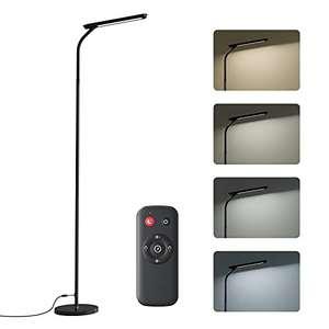 Lámpara de Pie LED Regulable con Control Remoto, 4 Temperaturas de Color, 360°Flexible