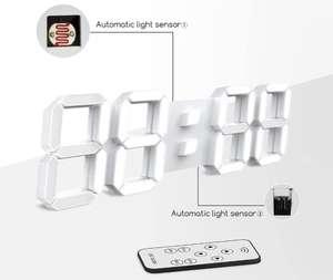 Reloj de Pared Digital Led 3D Despertador 38.4cm con Control Remoto