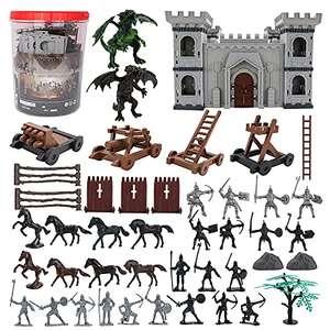 76 Piezas – Castillo, Caballeros, Dragones, Caballos y Accesorios de Batalla de la Edad Media