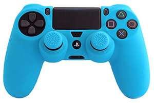 Funda de silicona azul con grips para mando original de PS4