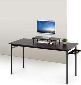 escritorio negro de metal con almacenamiento y soporte para monitor
